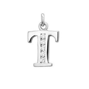 Letter T met zirkonia - Zilveren hanger-0