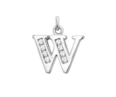 Montebello Hanger Letter W - Dames - 925 Zilver Gerh. - Zirkonia - 10x20mm -0
