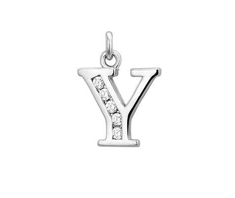 Letter Y met zirkonia - Zilveren hanger-0