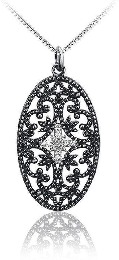 Montebello ketting Borago - Dames - Zilver Gehrodineerd - Zirkonia - Ovaal - 45 cm-0