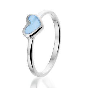 Gekleurde Heart ring, zilveren ring - amanto kinderjuwelen-5125