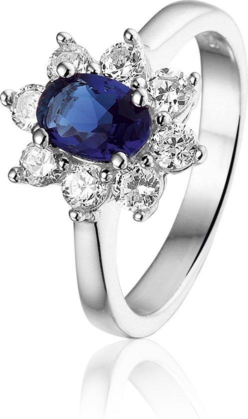 Montebello Ring Gardenia - Dames - Zilver Gerhodineerd - Zirkonia - Blauw-0