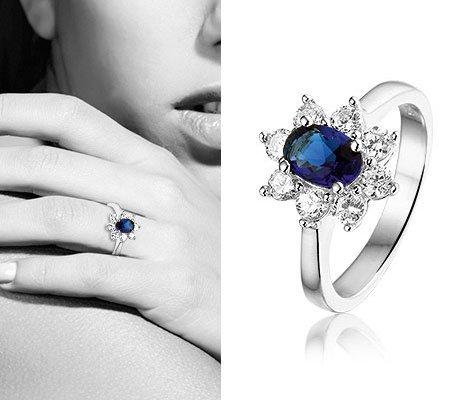 Montebello Ring Gardenia - Dames - Zilver Gerhodineerd - Zirkonia - Blauw-6259