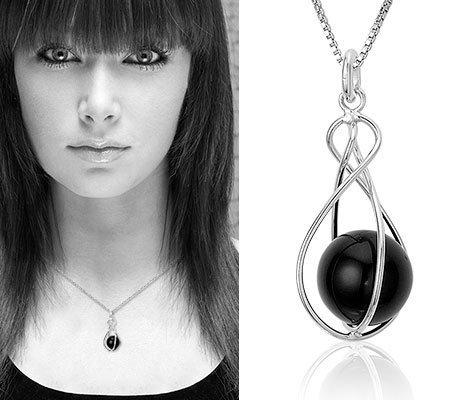 Montebello Ketting Leersia - Dames - Zilver Gehrodineerd - Imit. Onyx - 45 cm-6684