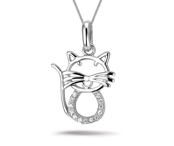 Montebello ketting Cat - Dames - Zilver Gerhodineerd - Poes - Zirkonia - 15 x 22 mm - 45 cm-0