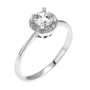 Montebello Ring Palmorchis - Dames - Zilver Gehrodineerd - Zirkonia - ∅ 7 mm -0