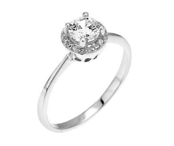Montebello Ring Palmorchis - Dames - Zilver Gehrodineerd - Zirkonia - ∅ 7 mm -0