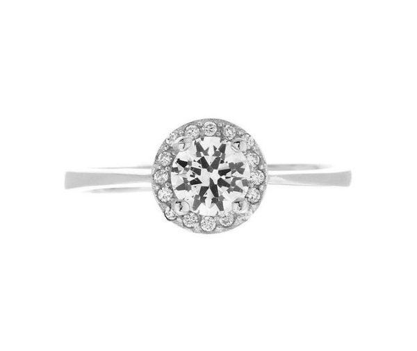 Montebello Ring Palmorchis - Dames - Zilver Gehrodineerd - Zirkonia - ∅ 7 mm -7076