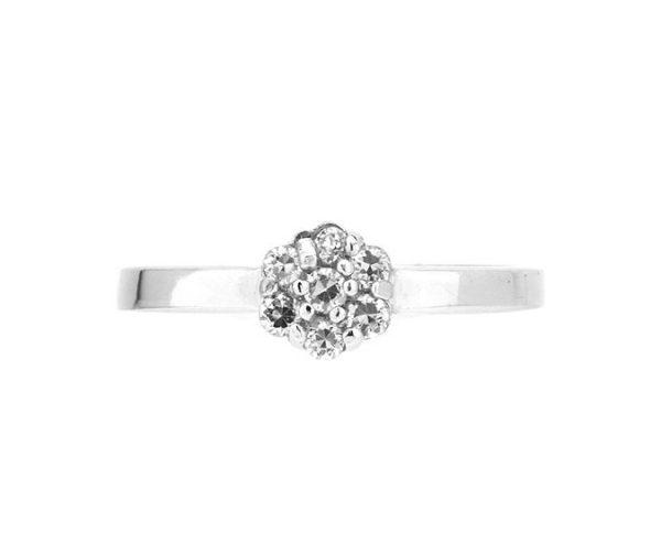 Montebello Ring Panicum - Dames - Zilver Gehrodineerd - Zirkonia - ∅7 mm -7086