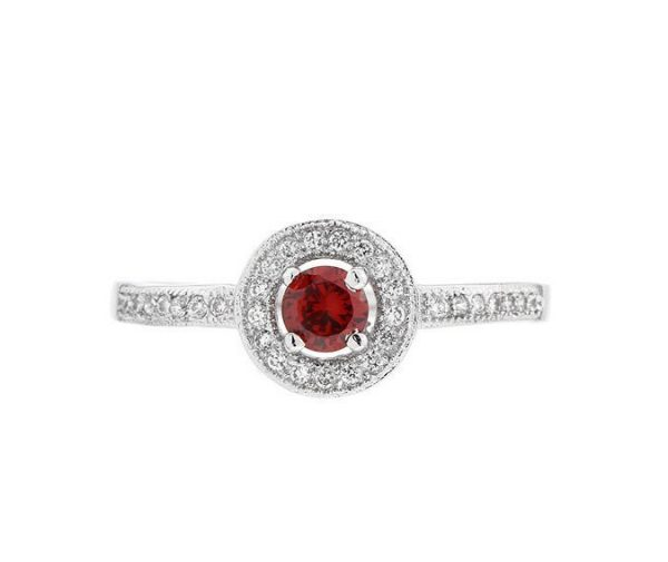 Montebello Ring Paradisea - Dames - Zilver Gehrodineerd - Zirkonia - ∅7 mm-7092