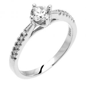 Montebello Ring Pasithea - Dames - Zilver Gehrodineerd - Zirkonia - ∅6 mm -0