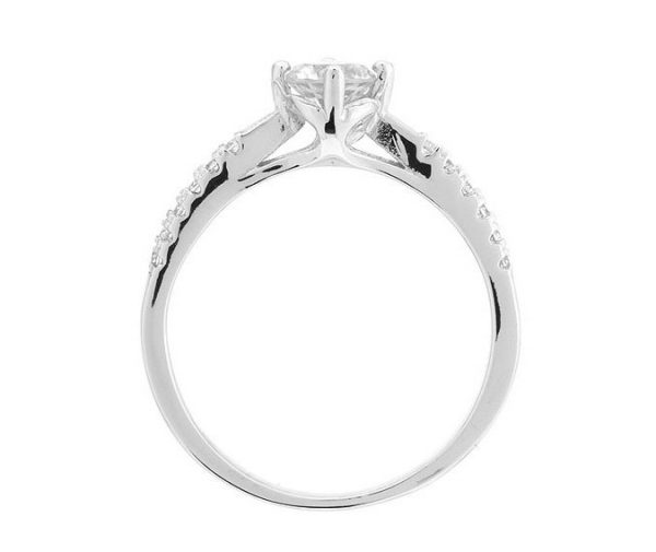 Montebello Ring Pasithea - Dames - Zilver Gehrodineerd - Zirkonia - ∅6 mm -7101