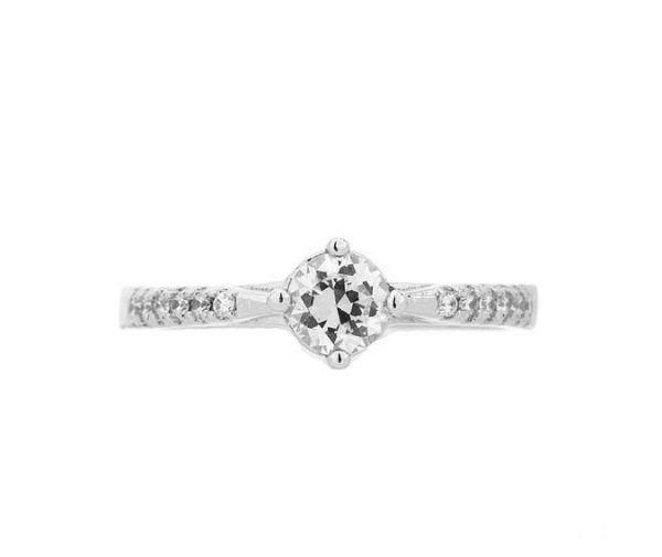 Montebello Ring Pasithea - Dames - Zilver Gehrodineerd - Zirkonia - ∅6 mm -7102
