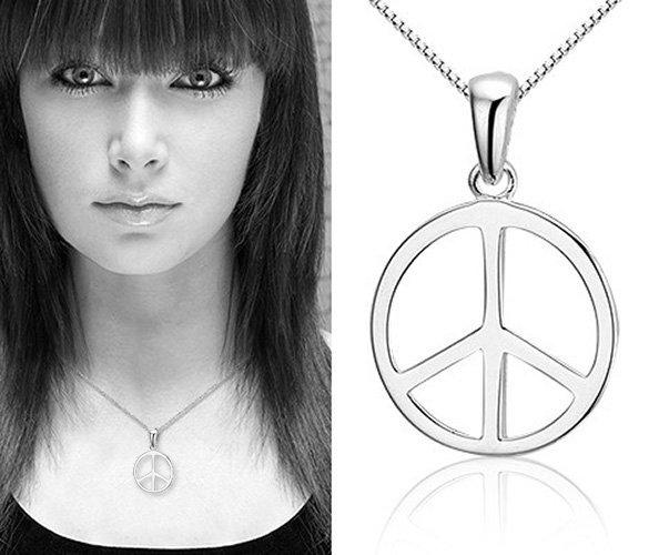 Montebello Ketting Peace - Zilver Gerhodineerd - Symbool - 14mm - 45cm-21260