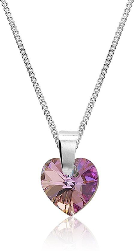 Montebello Ketting Pulmonaria - Dames - 925 Zilver - SWAROVSKI ELEMENTS™ - Hart - ∅10 mm-0