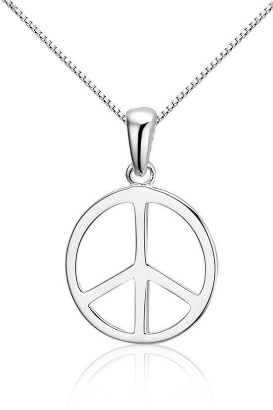 Montebello Ketting Peace - Zilver Gerhodineerd - Symbool - 14mm - 45cm-0