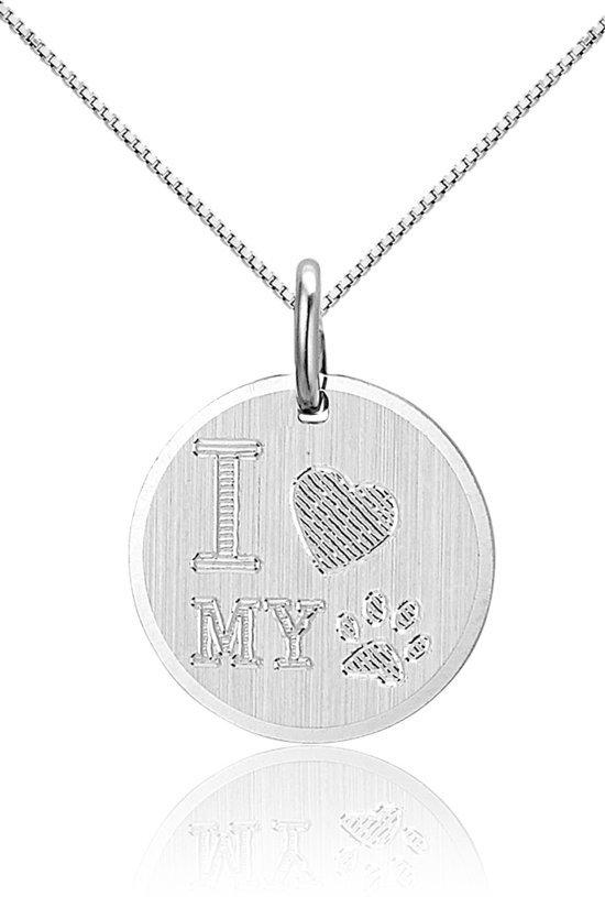Love Dog, zilveren hanger met ketting - Montebello juwelen-0