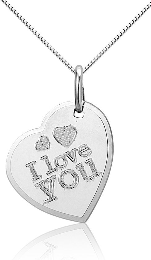 Montebello Ketting Love You - Dames - Zilver Gerhodineerd - Hart - 14 x 20 mm - 45 cm-0