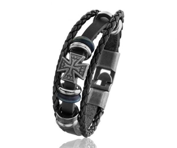 Montebello armband Kelt - Metaal - PU Leer - Kruis - 20cm-7513