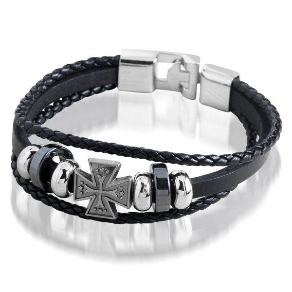 Montebello armband Kelt - Metaal - PU Leer - Kruis - 20cm-0