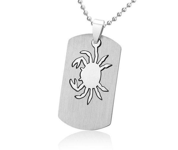 Kreeft E, edelstalen hanger met ketting - Montebello juwelen-0