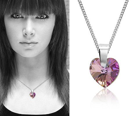 Montebello Ketting Pulmonaria - Dames - 925 Zilver - SWAROVSKI ELEMENTS™ - Hart - ∅10 mm-7463