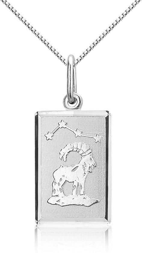 Montebello Ketting Steenbok - Dames - Zilver Gerhodineerd - Horoscoop - 12 x 25 mm - 45 cm-0