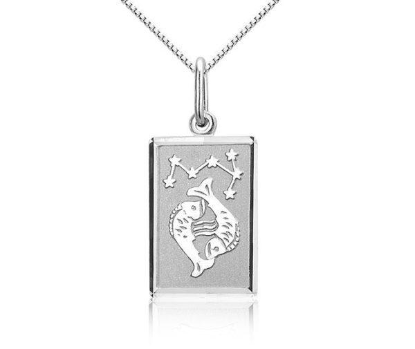 Montebello Ketting Vissen - Dames - Zilver Gerhodineerd - Horoscoop - 12 x 25 mm - 45 cm-7579