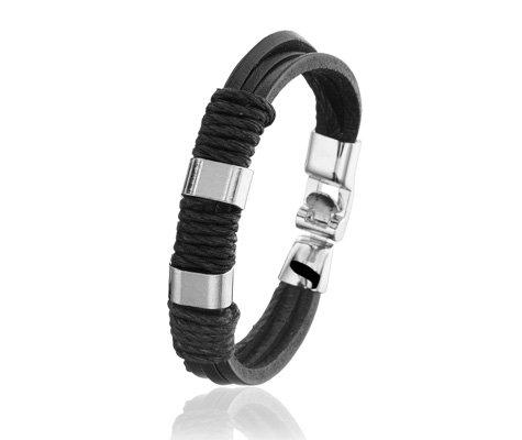 Montebello Armband Salsola - Heren - Leer - Staal - 22 cm-0