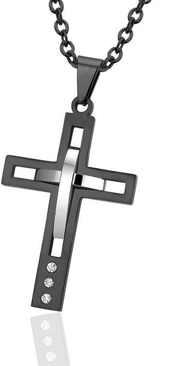 Montebello Ketting Cross - heren - 316L Staal - Zirkonia - Kruis - 60 cm-0