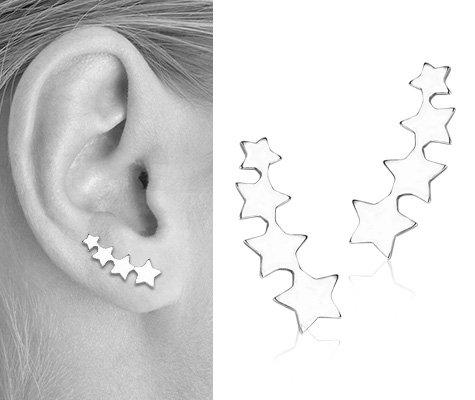 Montebello oorbellen Rheopteris - Dames - 925 Zilver Gerhodineerd - Ster - 17 mm-7655