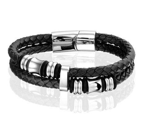 Montebello Armband Skabal - S316L Staal - Leer - Zwart - ∅21cm-0