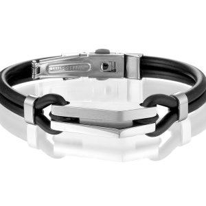 Montebello Armband Sida - Heren - Staal - Siliconen - ∅19 cm-0