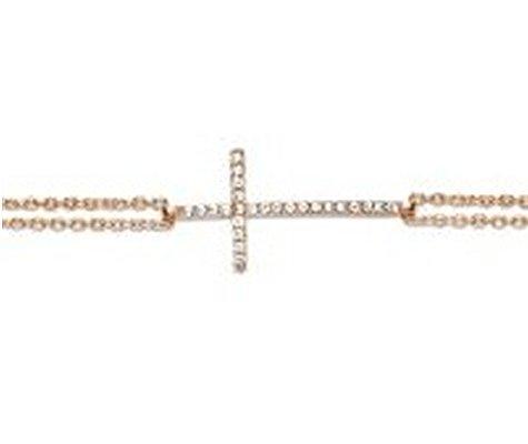 Montebello Armband Chaetium - Dames - Zilver Verguld - Zirkonia - Kruis - 19+3cm-0