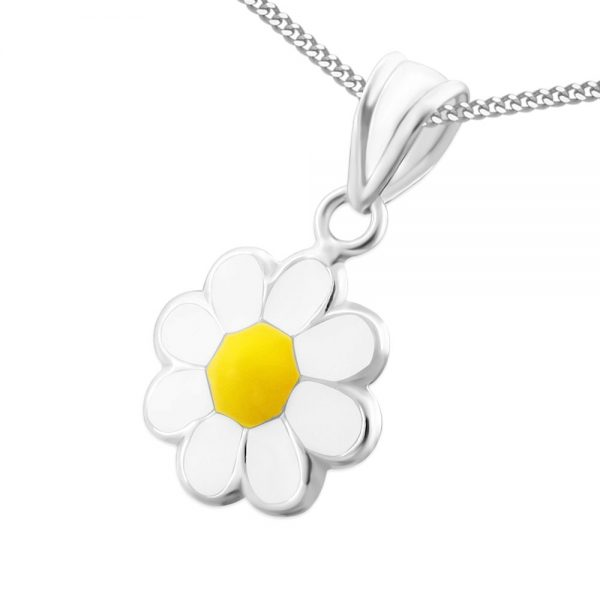 Princess Ketting Daisy White - 925 Zilver E-Coating - Bloem - ∅10mm - 38cm-0