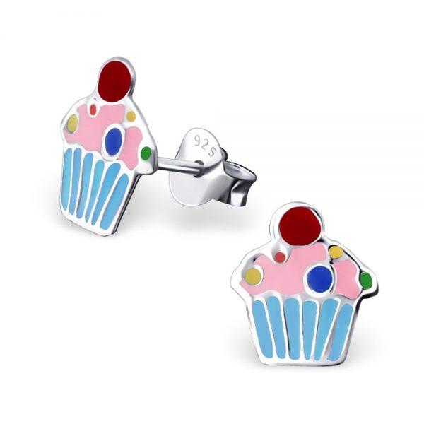 Princess Oorbellen Axis O - Meisjes - 925 Zilver - Epoxy - Cupcake - 8 x 9 mm-0