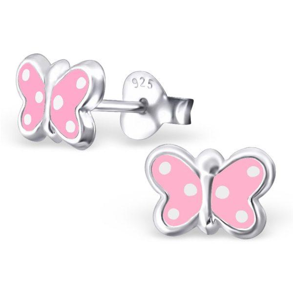 Princess Oorbellen Alpaca Pink - Meisjes - 925 Zilver E-coating - Epoxy - Vlinder - 5x8mm-0