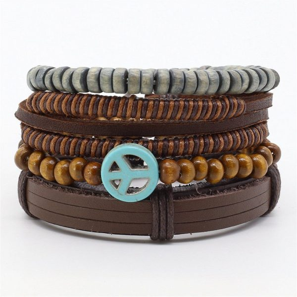 Montebello Armbanden Achil - Unisex - Leer - Kralen - ∅ 20-23 cm-0