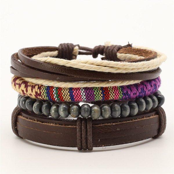 Montebello Armbanden Adelin - Leer - Touw - Stof - Kralen - 4-delig -0