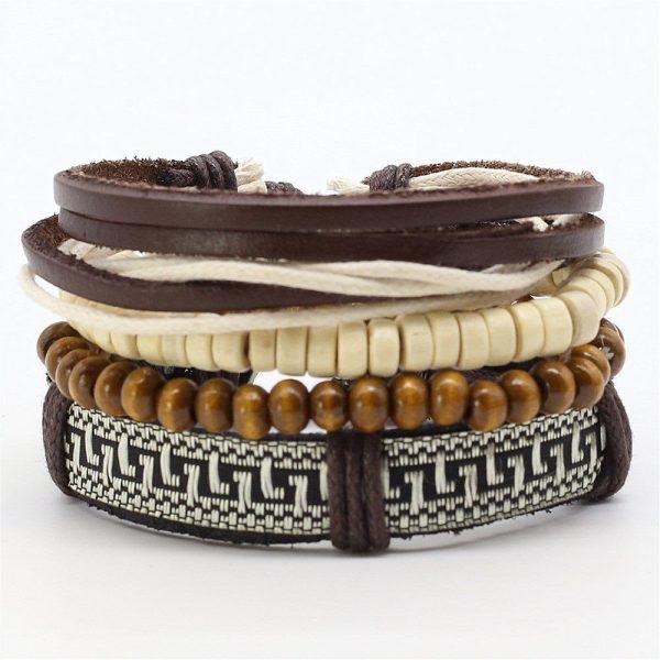 Montebello Armbanden Adlan - Unisex - Leer - Kralen - ∅ 20-23 cm-0
