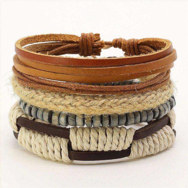 Montebello Armbanden Adriona - Leer - Kralen - Touw - 20-23cm-0