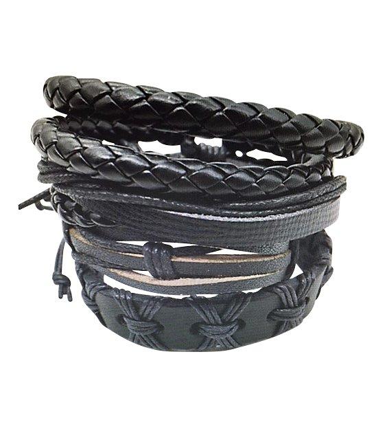 Montebello Armbanden Ajuga - Heren - Leer - ∅20-23cm (aanpasbaar)-0
