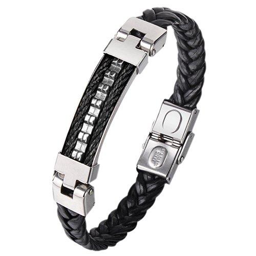Montebello Armband Benzing Black - Heren - Staal - Leer - 20cm-0