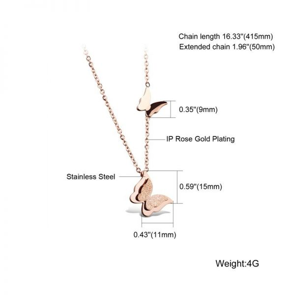 Montebello Ketting Butterfly R - 316L Staal - Vlinder - 11x15mm - 46.5cm-8017