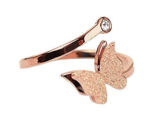 Montebello Ring Butterfly R - Dames - 316L Staal Rosé - Vlinder - Zirkonia - One-Size-0