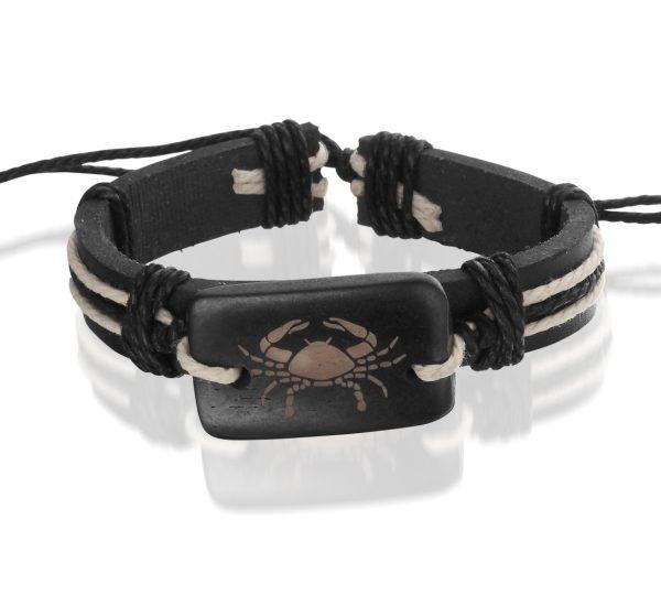 Montebello Armband kreeft - Unisex - Leer - ∅20-23cm (aanpasbaar)-0