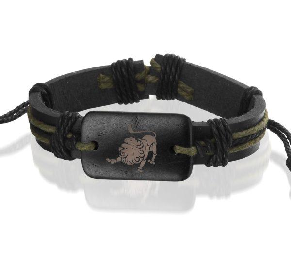 Montebello Armband Leeuw - Unisex - Leer - Horoscoop - ∅20 - 23 cm-0