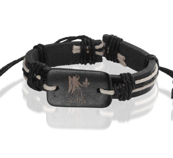 Montebello Armband Maagd - Unisex - Leer - ∅20-23cm (aanpasbaar)-0