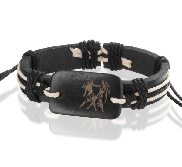 Montebello Armband Tweeling - Unisex - Leer - Horoscoop - ∅20 - 23 cm-0