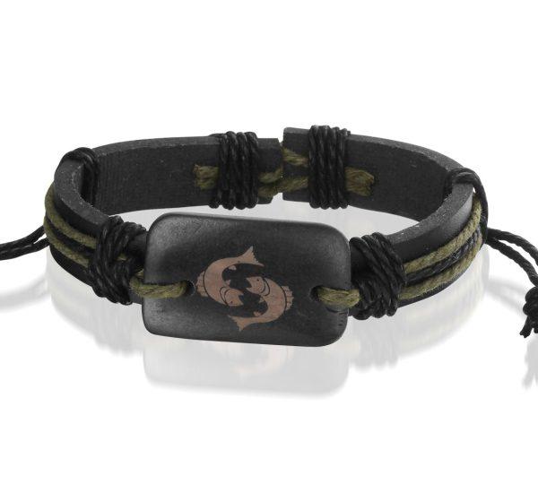 Montebello Armband Vissen - Unisex - Leer - Horoscoop - ∅20 - 23 cm-0